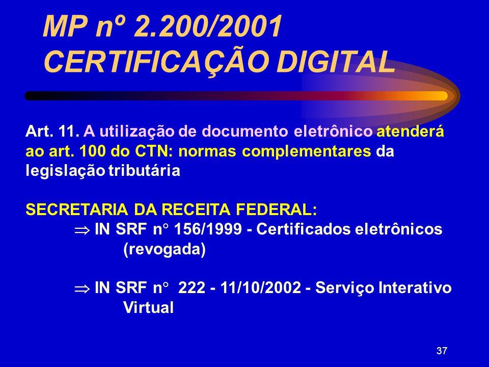 36 : MP nº 2.200/2001 CERTIFICAÇÃO DIGITAL Certificação sob o sistema de CHAVES PÚBLICAS: PRESUNÇÃO DE VERACIDADE (art.