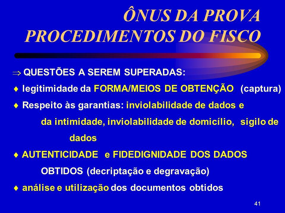 40 ÔNUS DA PROVA FALSIDADE ou ADULTERAÇÃO DO DOCUMENTO: quem argüir FALSIDADE DA ASSINATURA OU NÃO-AUTENTICIDADE DA CHAVE PÚBLICA: quem argüir (prova pericial) DESNECESSIDADE DE AUTENTICAÇÃO DA CÓPIA: na dúvida terá que ser apresentado o original CONTESTADA A VERACIDADE DA CÓPIA: confronto com o original (eletrônico)