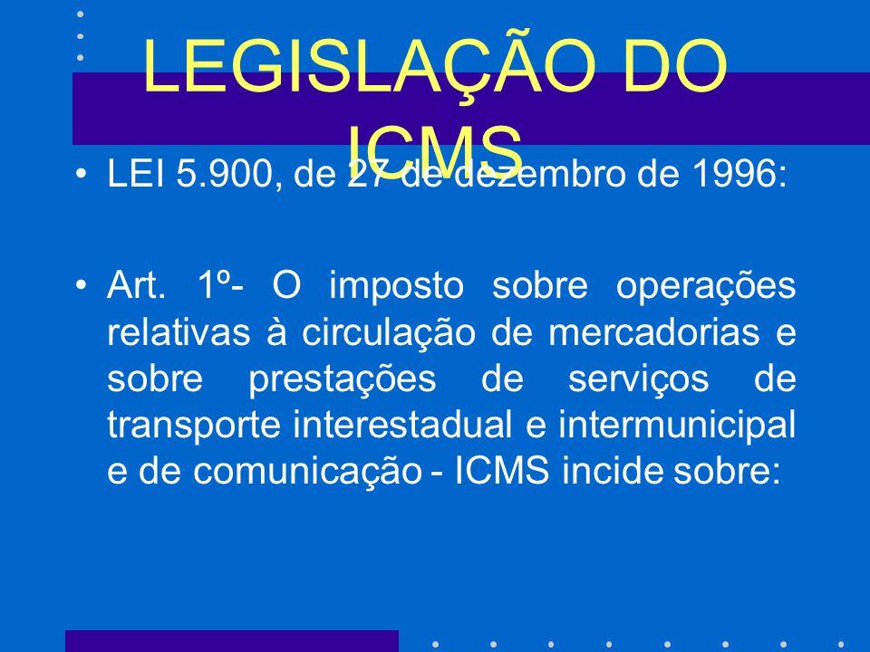LEGISLAÇÃO DO ICMS LEI 5.900, de 27 de dezembro de 1996: Art.