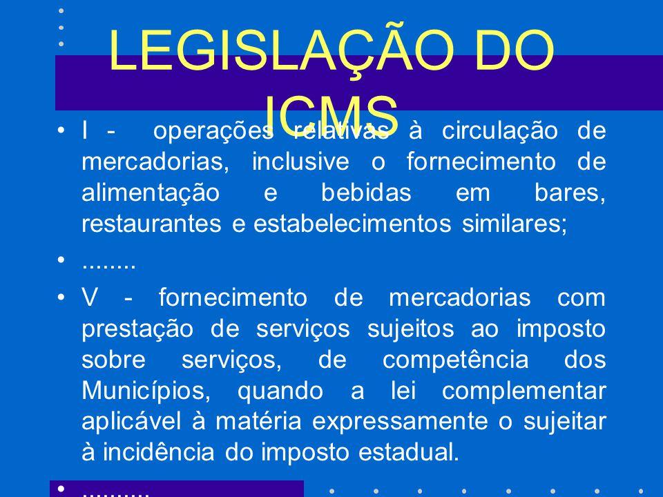 LEGISLAÇÃO DO ICMS I - operações relativas à circulação de mercadorias, inclusive o fornecimento de alimentação e bebidas em bares, restaurantes e estabelecimentos similares;........