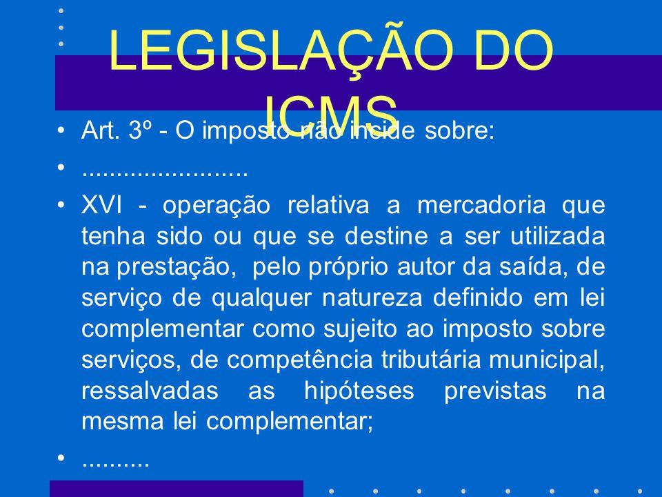 LEGISLAÇÃO DO ICMS Art.3º - O imposto não incide sobre:........................
