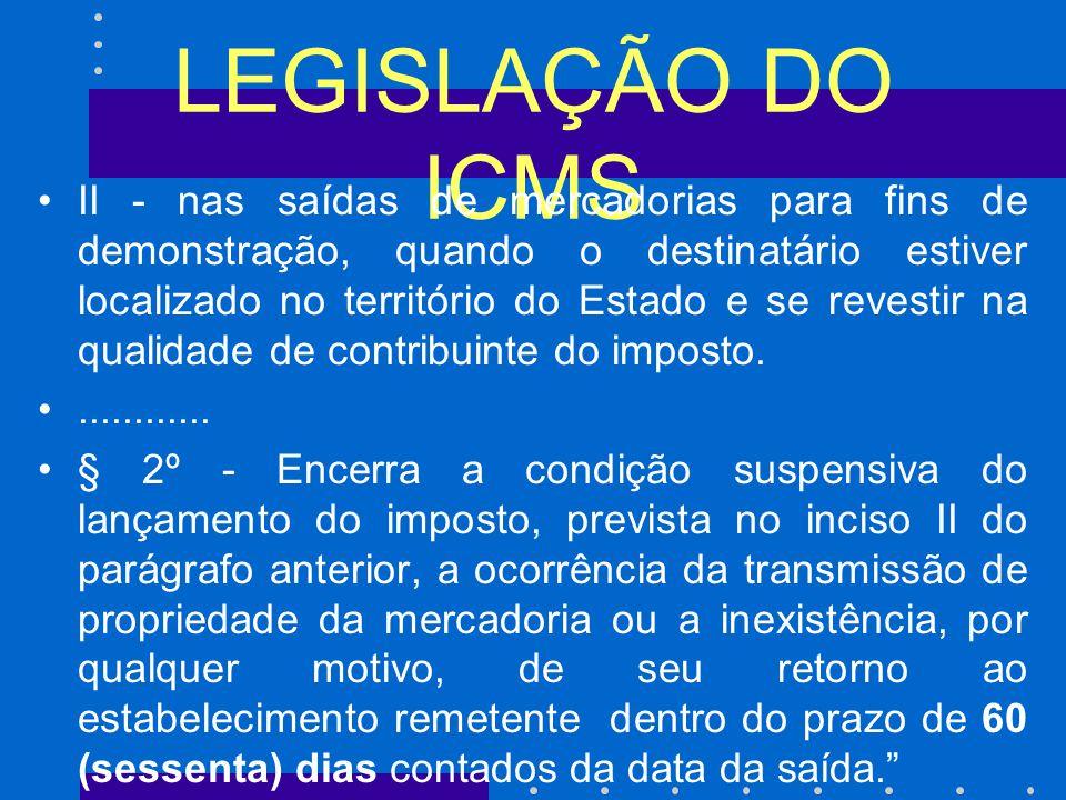 LEGISLAÇÃO DO ICMS II - nas saídas de mercadorias para fins de demonstração, quando o destinatário estiver localizado no território do Estado e se revestir na qualidade de contribuinte do imposto.............