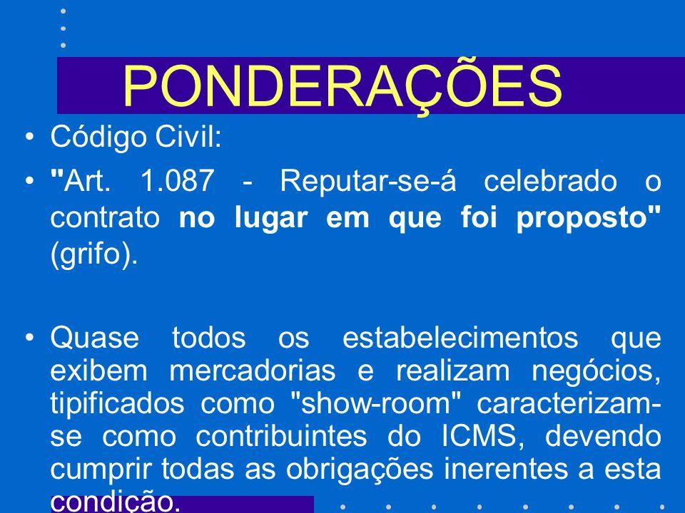 PONDERAÇÕES Código Civil: Art.