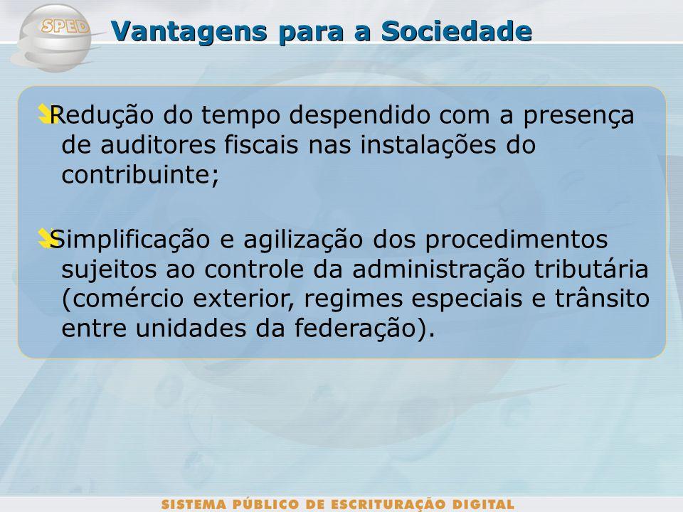 Vantagens para a Sociedade Redução dos custos para o armazenamento de documentos em papel; Redução dos custos com o cumprimento de obrigações acessóri