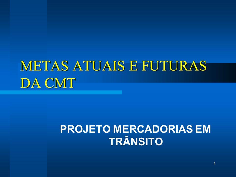 1 METAS ATUAIS E FUTURAS DA CMT PROJETO MERCADORIAS EM TRÂNSITO