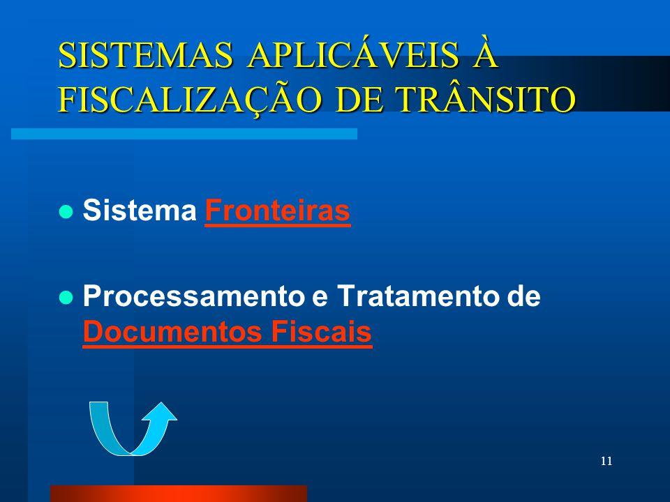 11 SISTEMAS APLICÁVEIS À FISCALIZAÇÃO DE TRÂNSITO Sistema FronteirasFronteiras Processamento e Tratamento de Documentos Fiscais Documentos Fiscais
