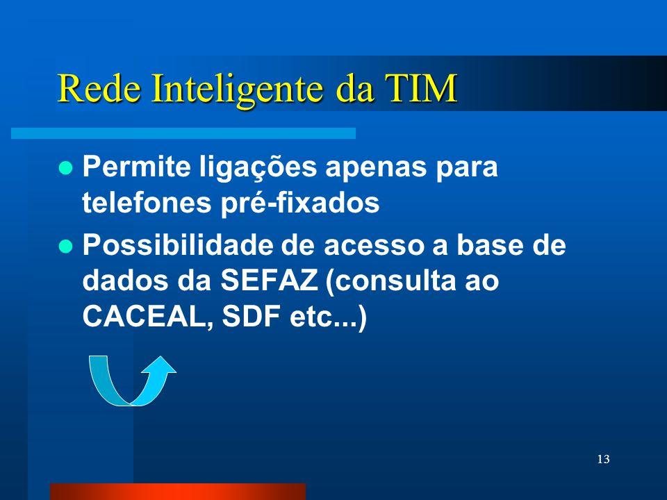 13 Rede Inteligente da TIM Permite ligações apenas para telefones pré-fixados Possibilidade de acesso a base de dados da SEFAZ (consulta ao CACEAL, SDF etc...)