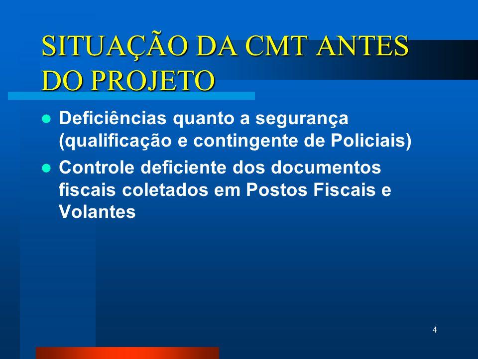 4 SITUAÇÃO DA CMT ANTES DO PROJETO Deficiências quanto a segurança (qualificação e contingente de Policiais) Controle deficiente dos documentos fiscais coletados em Postos Fiscais e Volantes