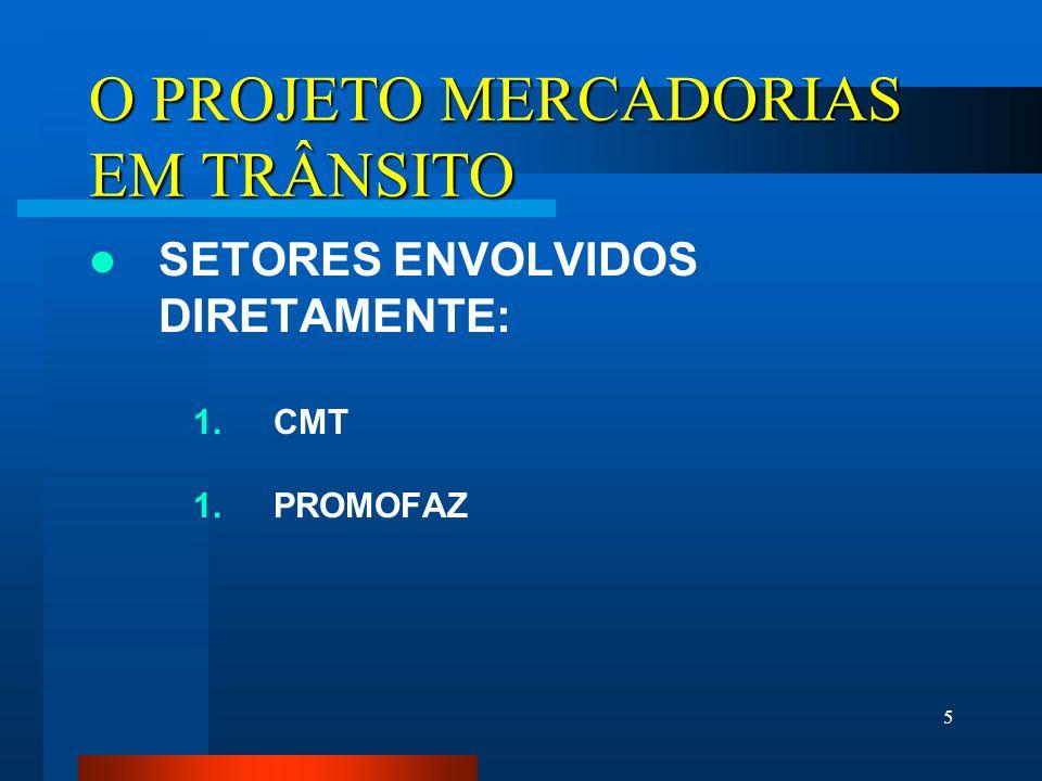 5 O PROJETO MERCADORIAS EM TRÂNSITO SETORES ENVOLVIDOS DIRETAMENTE: 1. CMT 1. PROMOFAZ