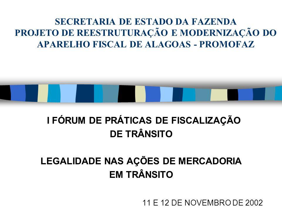 FISCALIZAÇÃO DE TRÂNSITO Compete à fiscalização no trânsito de mercadorias estabelecer vigilância e constatar (art.