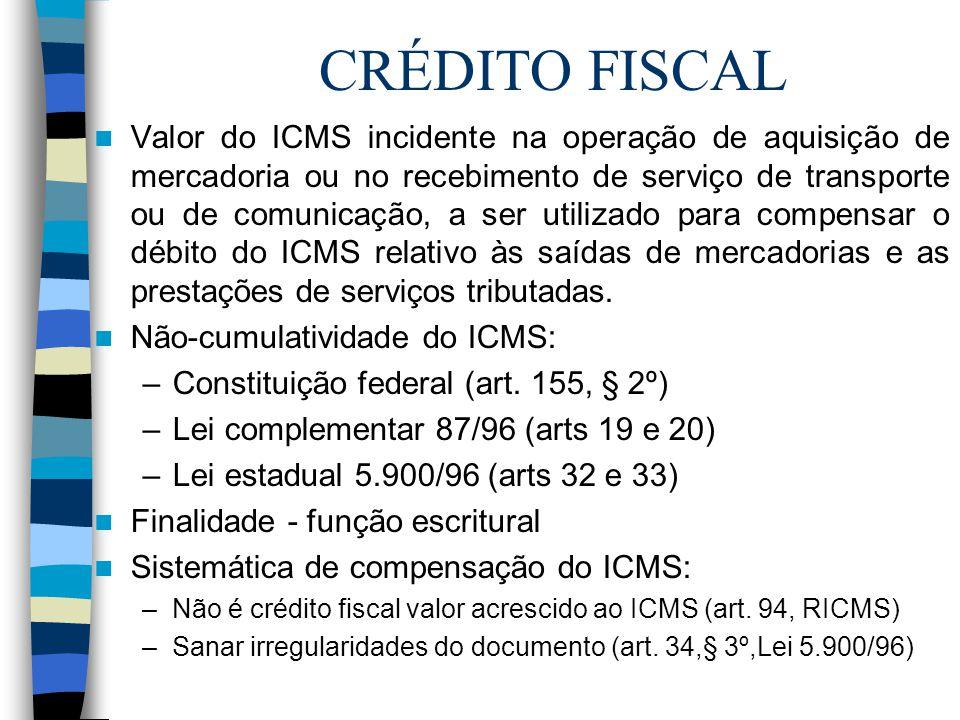 CRÉDITO FISCAL Valor do ICMS incidente na operação de aquisição de mercadoria ou no recebimento de serviço de transporte ou de comunicação, a ser util