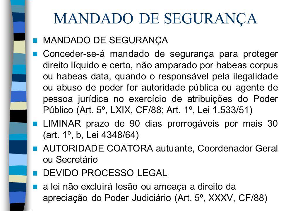 MANDADO DE SEGURANÇA Conceder-se-á mandado de segurança para proteger direito líquido e certo, não amparado por habeas corpus ou habeas data, quando o