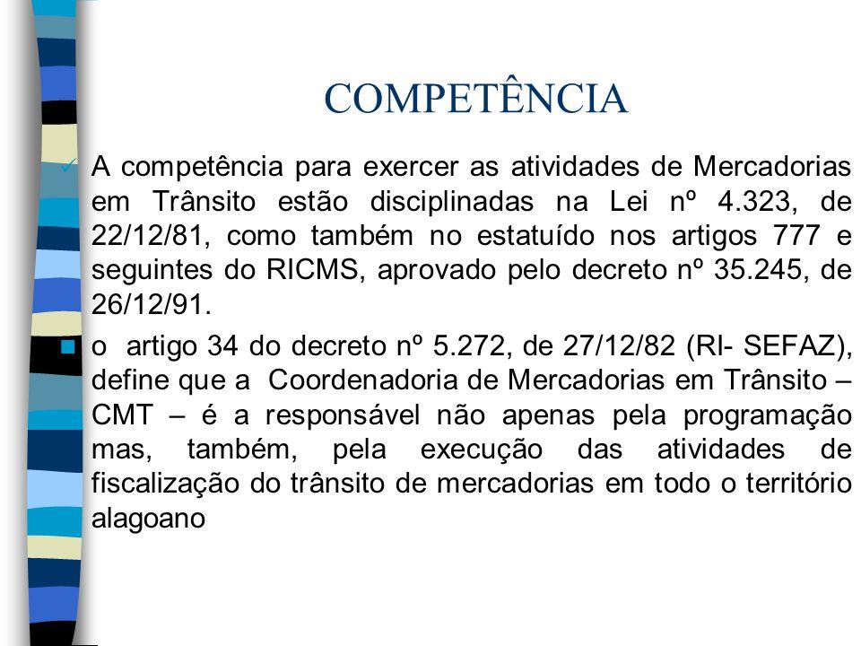 COMPETÊNCIA A competência para exercer as atividades de Mercadorias em Trânsito estão disciplinadas na Lei nº 4.323, de 22/12/81, como também no estat