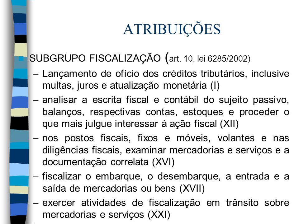 ATRIBUIÇÕES SUBGRUPO FISCALIZAÇÃO ( art. 10, lei 6285/2002) –Lançamento de ofício dos créditos tributários, inclusive multas, juros e atualização mone