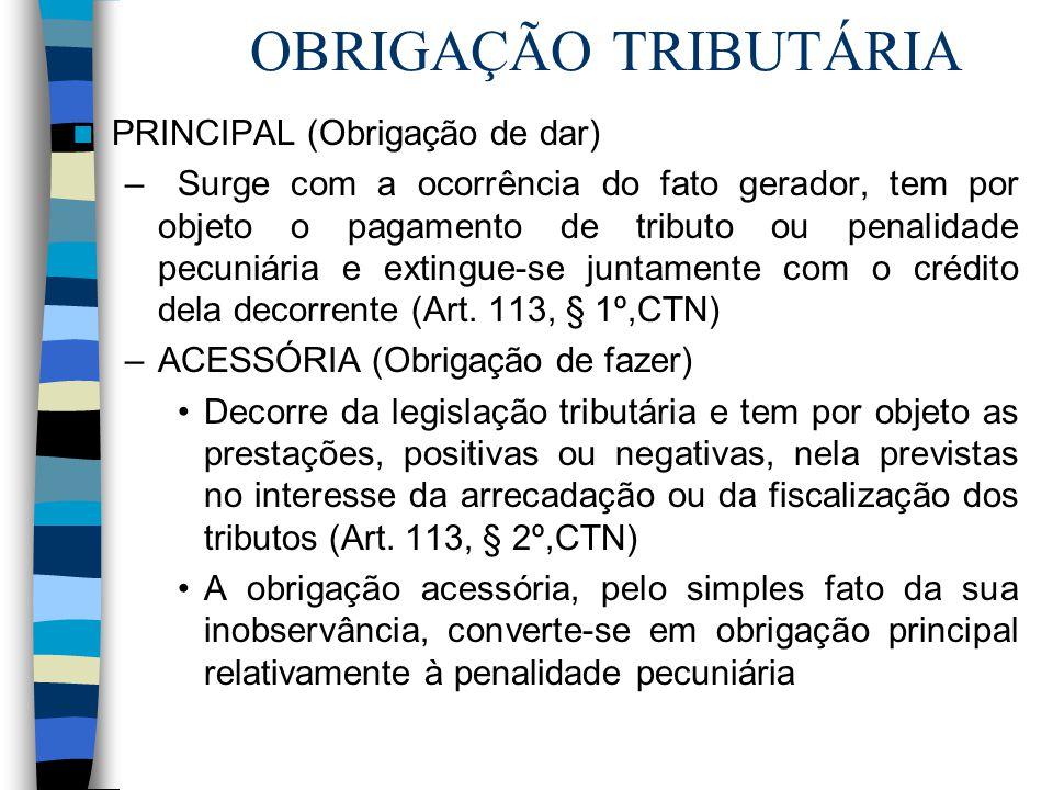 OBRIGAÇÃO TRIBUTÁRIA PRINCIPAL (Obrigação de dar) –Surge com a ocorrência do fato gerador, tem por objeto o pagamento de tributo ou penalidade pecuniá