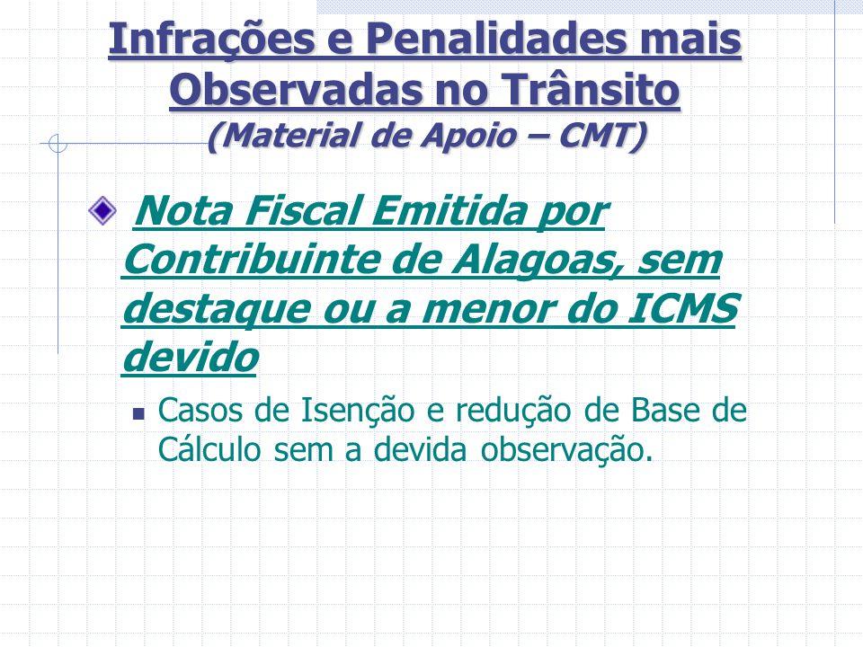 Infrações e Penalidades mais Observadas no Trânsito (Material de Apoio – CMT) Nota Fiscal com Sub- Faturamento de valores Pauta fiscal desatualizada