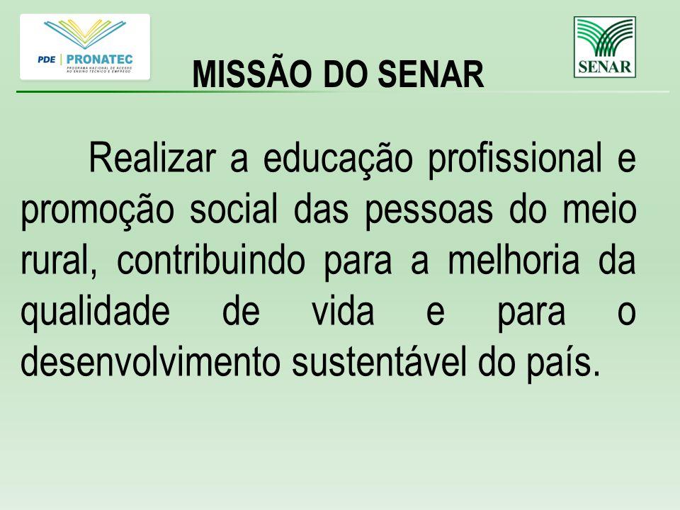 Realizar a educação profissional e promoção social das pessoas do meio rural, contribuindo para a melhoria da qualidade de vida e para o desenvolvimento sustentável do país.