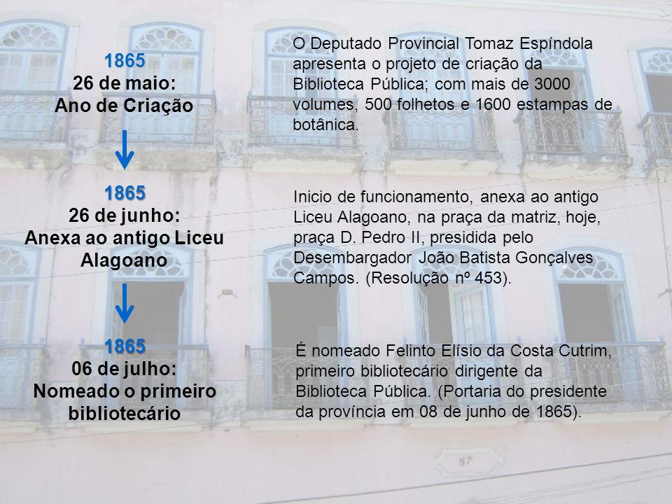 1866 16 de abril: Regulamento da Biblioteca Pública Expedição do primeiro regulamento da Biblioteca Pública na Presidencia Esperidião de Barros Pimentel 1872 É transferida para o Palacete Provincial Nesta data a biblioteca passa a funcionar no 2º andar do prédio da Assembleia Legislativa, conhecido na época como Palacete Provincial.