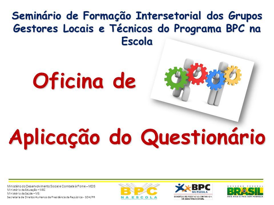 Seminário de Formação Intersetorial dos Grupos Gestores Locais e Técnicos do Programa BPC na Escola Oficina de Oficina de Aplicação do Questionário Mi