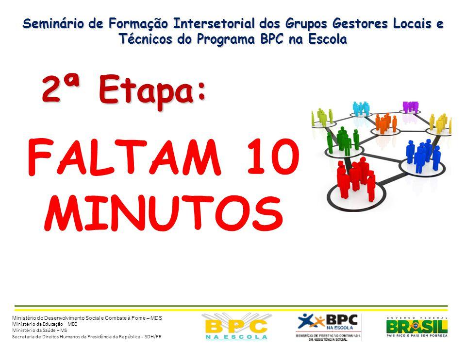 Seminário de Formação Intersetorial dos Grupos Gestores Locais e Técnicos do Programa BPC na Escola 2ª Etapa: 2ª Etapa: Ministério do Desenvolvimento
