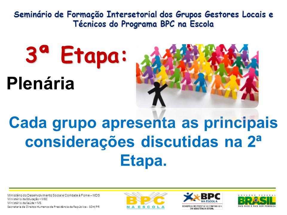 Seminário de Formação Intersetorial dos Grupos Gestores Locais e Técnicos do Programa BPC na Escola 3ª Etapa: 3ª Etapa: Plenária Cada grupo apresenta as principais considerações discutidas na 2ª Etapa.