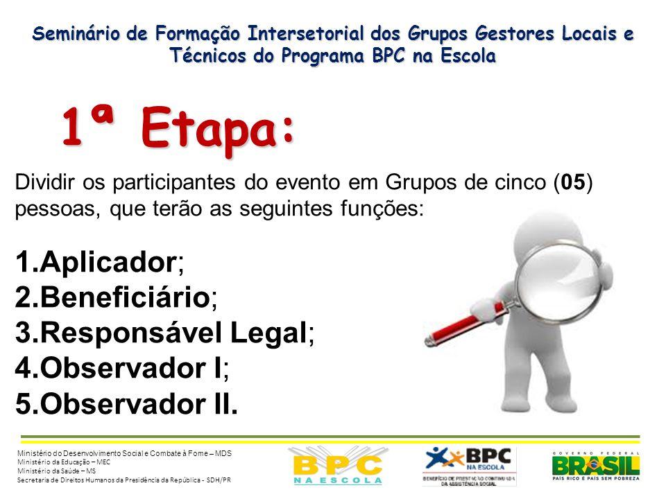 Seminário de Formação Intersetorial dos Grupos Gestores Locais e Técnicos do Programa BPC na Escola 1ª Etapa: 1ª Etapa: Dividir os participantes do ev