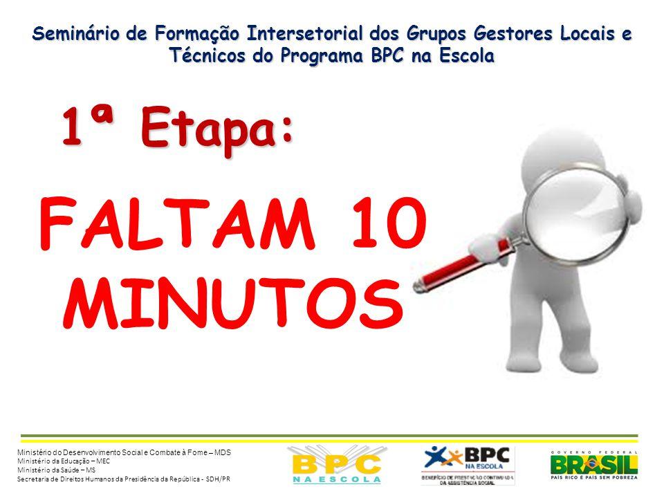 Seminário de Formação Intersetorial dos Grupos Gestores Locais e Técnicos do Programa BPC na Escola 1ª Etapa: 1ª Etapa: Ministério do Desenvolvimento