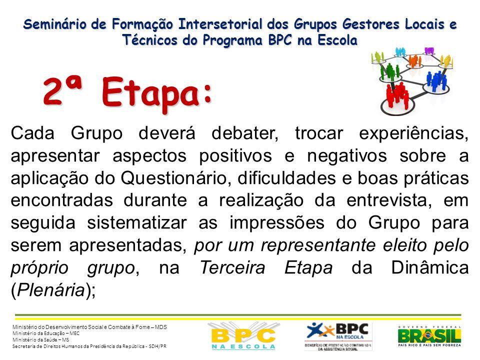 Seminário de Formação Intersetorial dos Grupos Gestores Locais e Técnicos do Programa BPC na Escola 2ª Etapa: 2ª Etapa: Cada Grupo deverá debater, tro