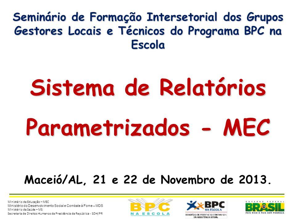 Seminário de Formação Intersetorial dos Grupos Gestores Locais e Técnicos do Programa BPC na Escola Sistema de Relatórios Parametrizados - MEC Maceió/