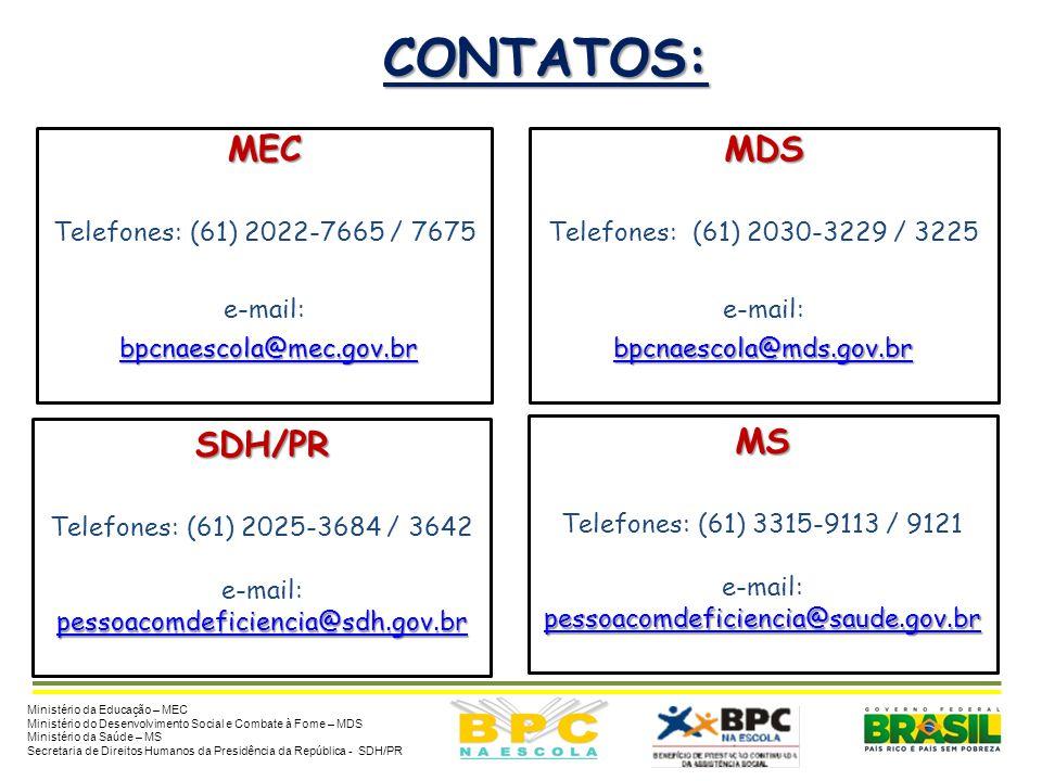 CONTATOS: Ministério da Educação – MEC Ministério do Desenvolvimento Social e Combate à Fome – MDS Ministério da Saúde – MS Secretaria de Direitos Hum