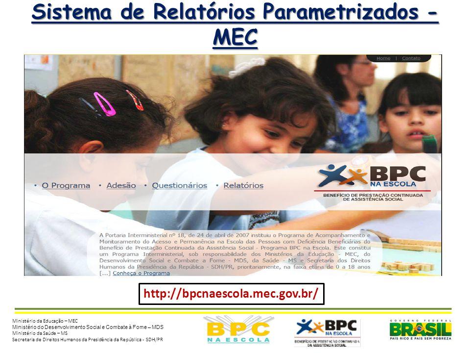 2 Sistema de Relatórios Parametrizados - MEC http://bpcnaescola.mec.gov.br/ Ministério da Educação – MEC Ministério do Desenvolvimento Social e Combat