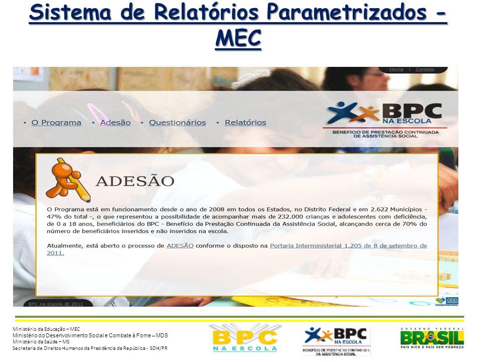 4 Sistema de Relatórios Parametrizados - MEC Ministério da Educação – MEC Ministério do Desenvolvimento Social e Combate à Fome – MDS Ministério da Sa