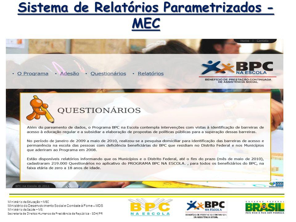 5 Sistema de Relatórios Parametrizados - MEC Ministério da Educação – MEC Ministério do Desenvolvimento Social e Combate à Fome – MDS Ministério da Sa