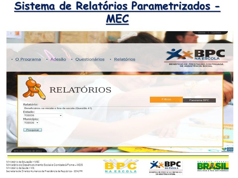 6 Sistema de Relatórios Parametrizados - MEC Ministério da Educação – MEC Ministério do Desenvolvimento Social e Combate à Fome – MDS Ministério da Sa