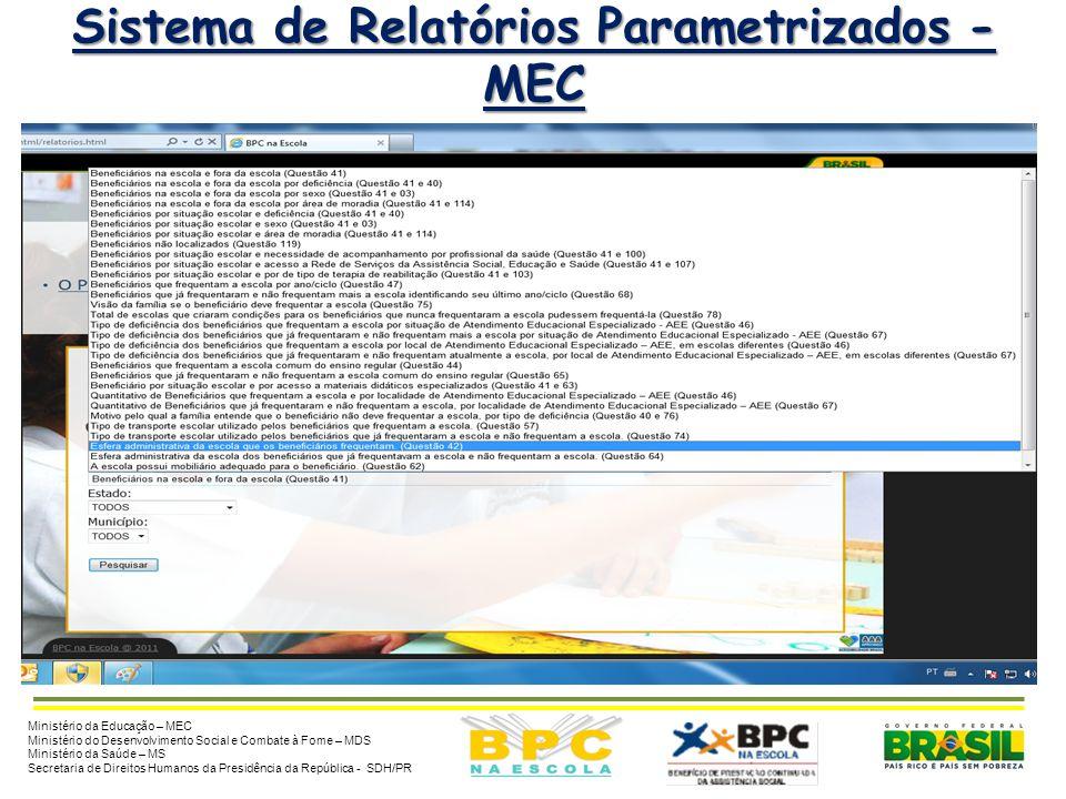 8 Sistema de Relatórios Parametrizados - MEC Ministério da Educação – MEC Ministério do Desenvolvimento Social e Combate à Fome – MDS Ministério da Sa