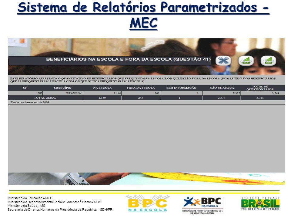 9 Sistema de Relatórios Parametrizados - MEC Ministério da Educação – MEC Ministério do Desenvolvimento Social e Combate à Fome – MDS Ministério da Sa