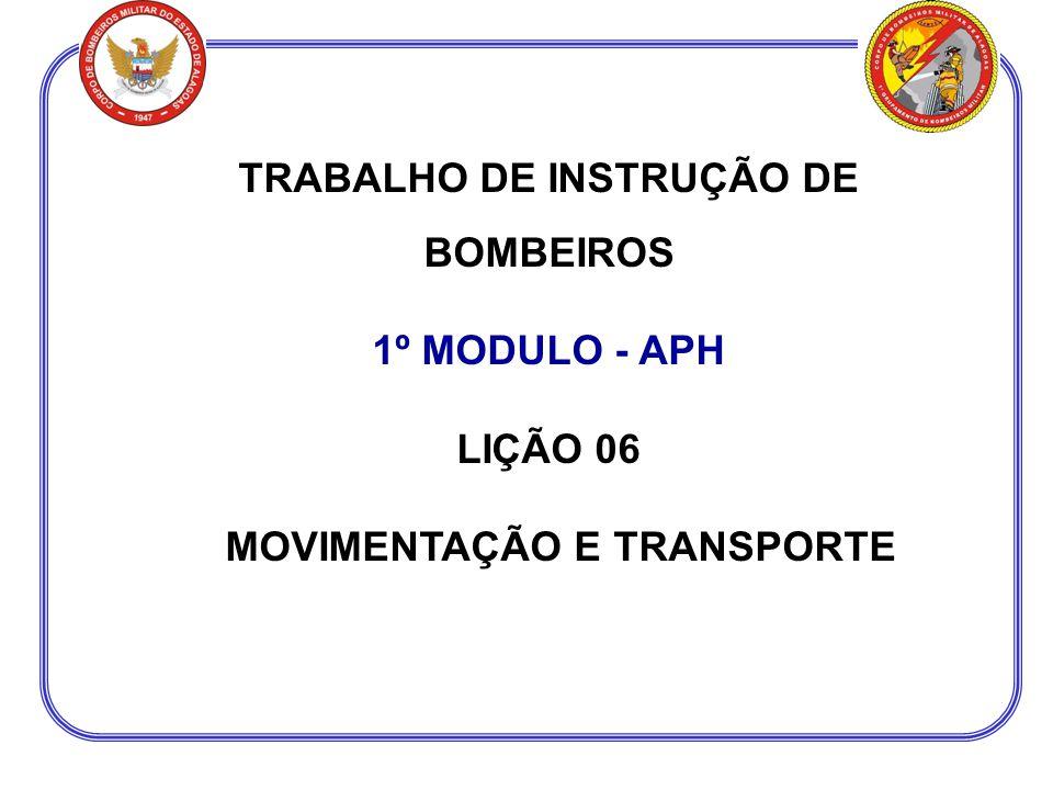 TRABALHO DE INSTRUÇÃO DE BOMBEIROS 1º MODULO - APH LIÇÃO 06 MOVIMENTAÇÃO E TRANSPORTE