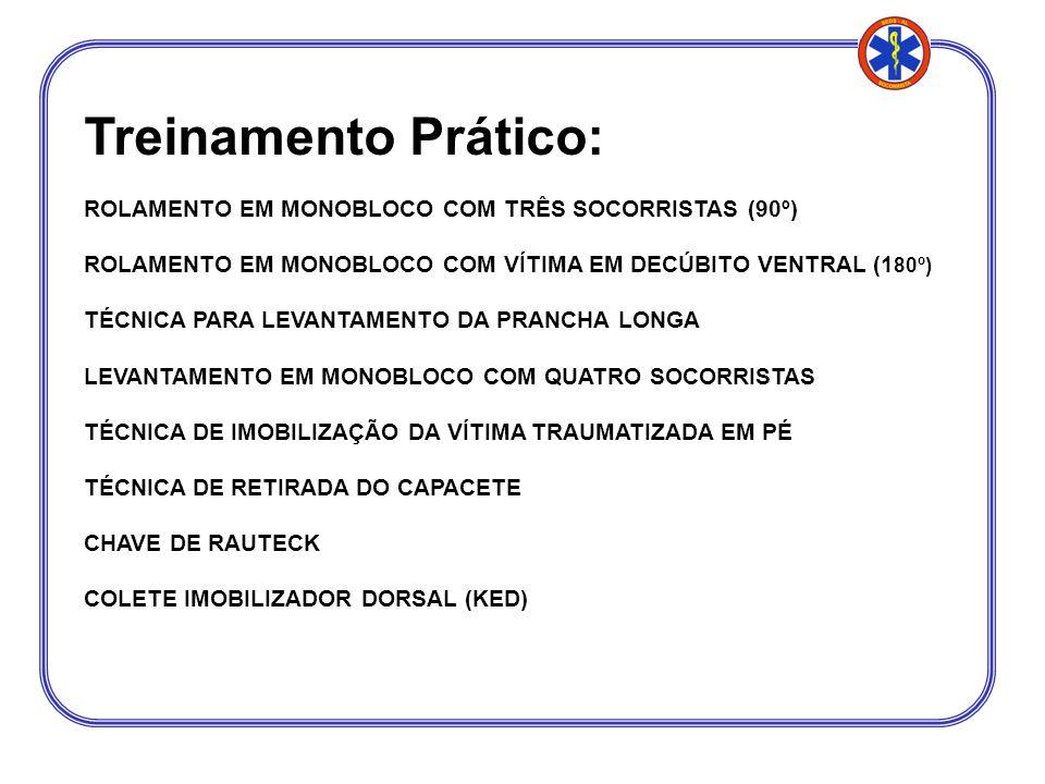 Treinamento Prático: ROLAMENTO EM MONOBLOCO COM TRÊS SOCORRISTAS (90º) ROLAMENTO EM MONOBLOCO COM VÍTIMA EM DECÚBITO VENTRAL (1 80º) TÉCNICA PARA LEVA