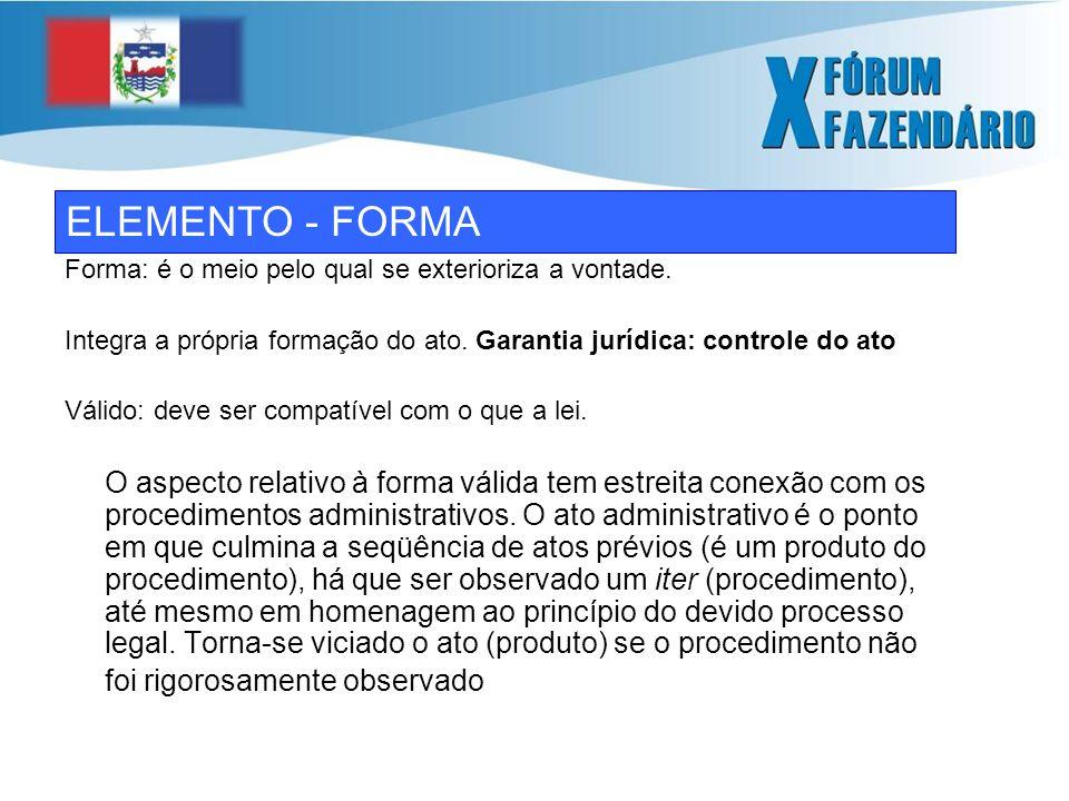 ELEMENTO - FORMA Forma: é o meio pelo qual se exterioriza a vontade.