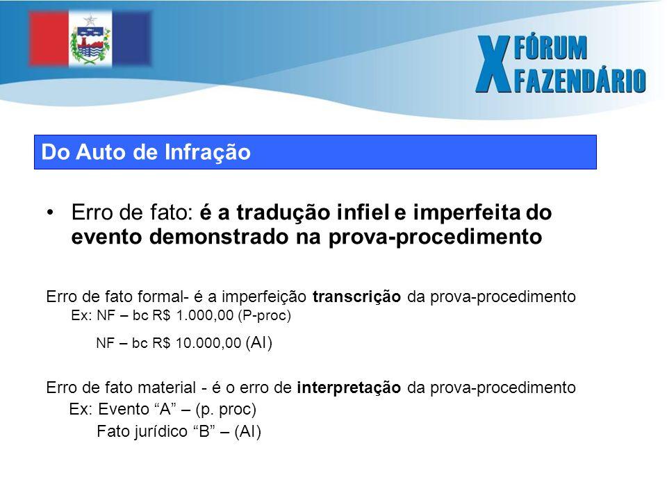 Do Auto de Infração Erro de fato: é a tradução infiel e imperfeita do evento demonstrado na prova-procedimento Erro de fato formal- é a imperfeição transcrição da prova-procedimento Ex: NF – bc R$ 1.000,00 (P-proc) NF – bc R$ 10.000,00 (AI) Erro de fato material - é o erro de interpretação da prova-procedimento Ex: Evento A – (p.