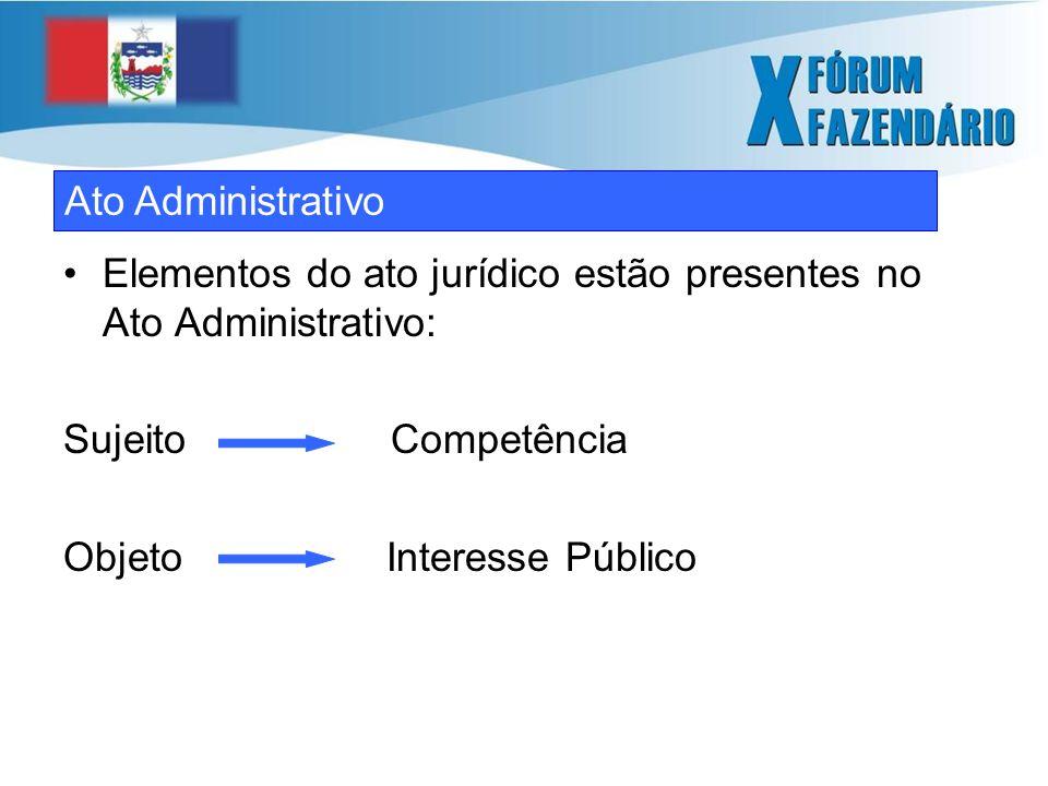 Os elementos estruturais do ato jurídico – o sujeito, o objeto, a forma e a própria vontade – garatem sua presença no ato administrativo.