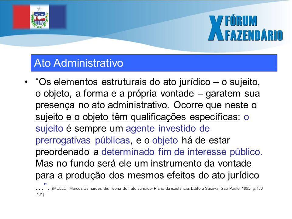 Conceito do Ato Administrativo Três Pontos Fundamentais: -Regido pelo Dir.