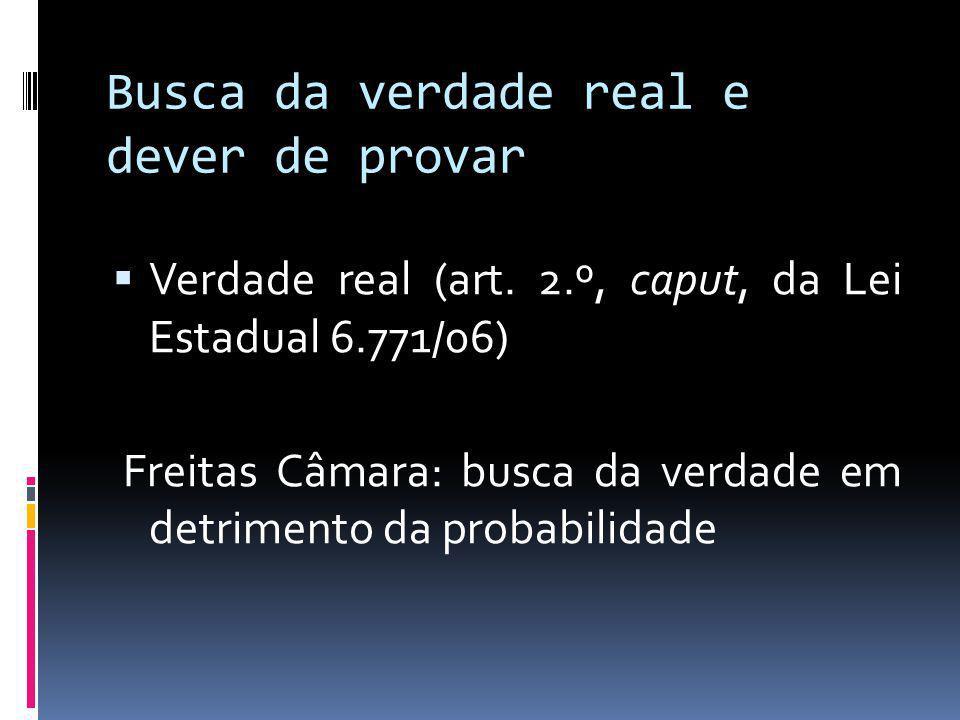 Busca da verdade real e dever de provar Verdade real (art.