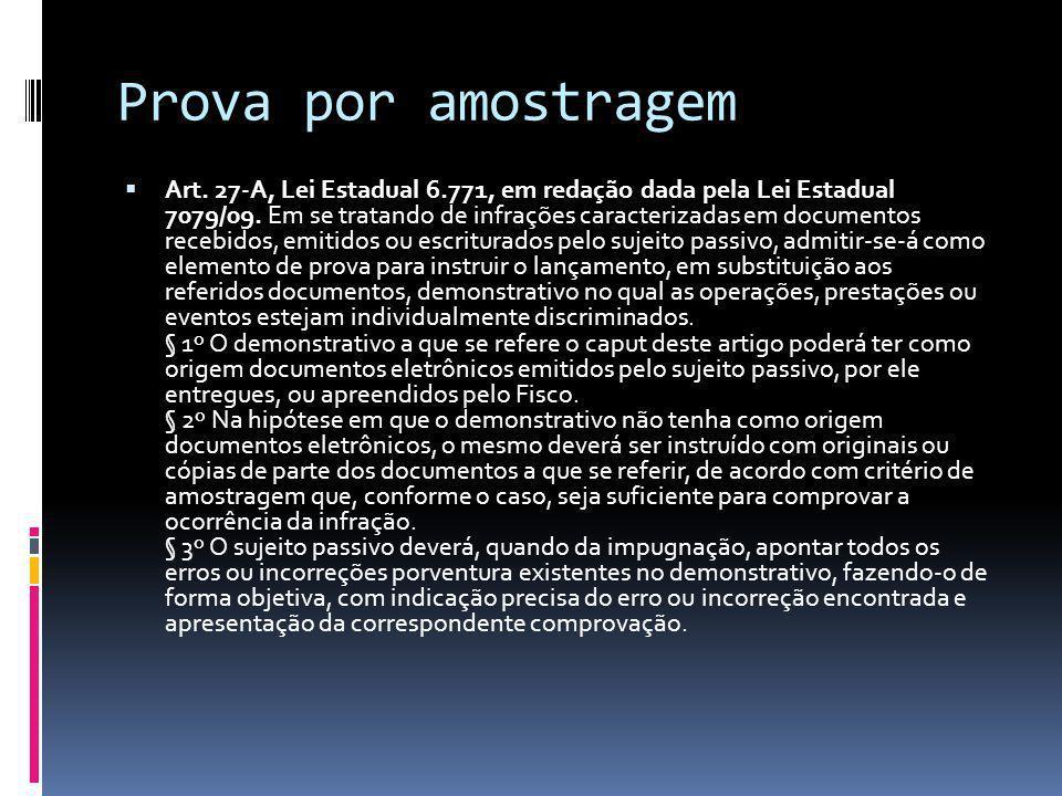 Prova por amostragem Art.27-A, Lei Estadual 6.771, em redação dada pela Lei Estadual 7079/09.