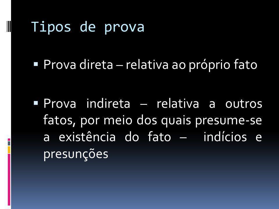 Tipos de prova Prova direta – relativa ao próprio fato Prova indireta – relativa a outros fatos, por meio dos quais presume-se a existência do fato – indícios e presunções