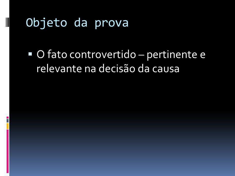 Objeto da prova O fato controvertido – pertinente e relevante na decisão da causa