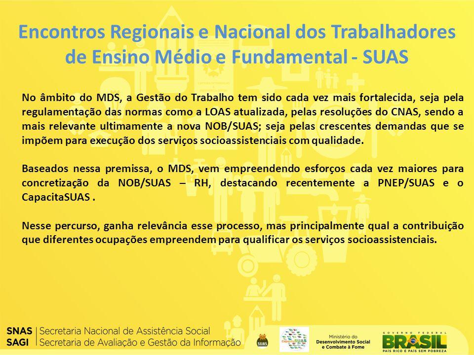 Encontros Regionais e Nacional dos Trabalhadores de Ensino Médio e Fundamental - SUAS No âmbito do MDS, a Gestão do Trabalho tem sido cada vez mais fo