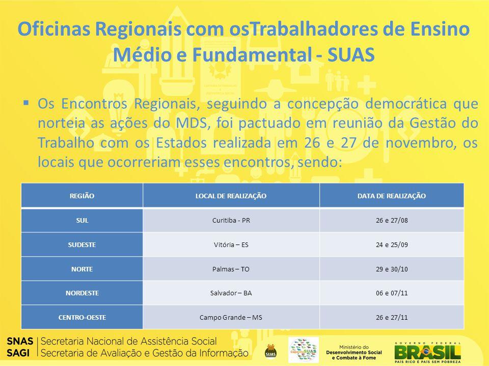Oficinas Regionais com osTrabalhadores de Ensino Médio e Fundamental - SUAS Os Encontros Regionais, seguindo a concepção democrática que norteia as aç