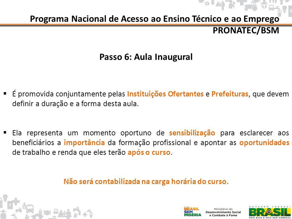 Mapa da Pobreza Programa Nacional de Acesso ao Ensino Técnico e ao Emprego PRONATEC/BSM Passo 6: Aula Inaugural É promovida conjuntamente pelas Instit