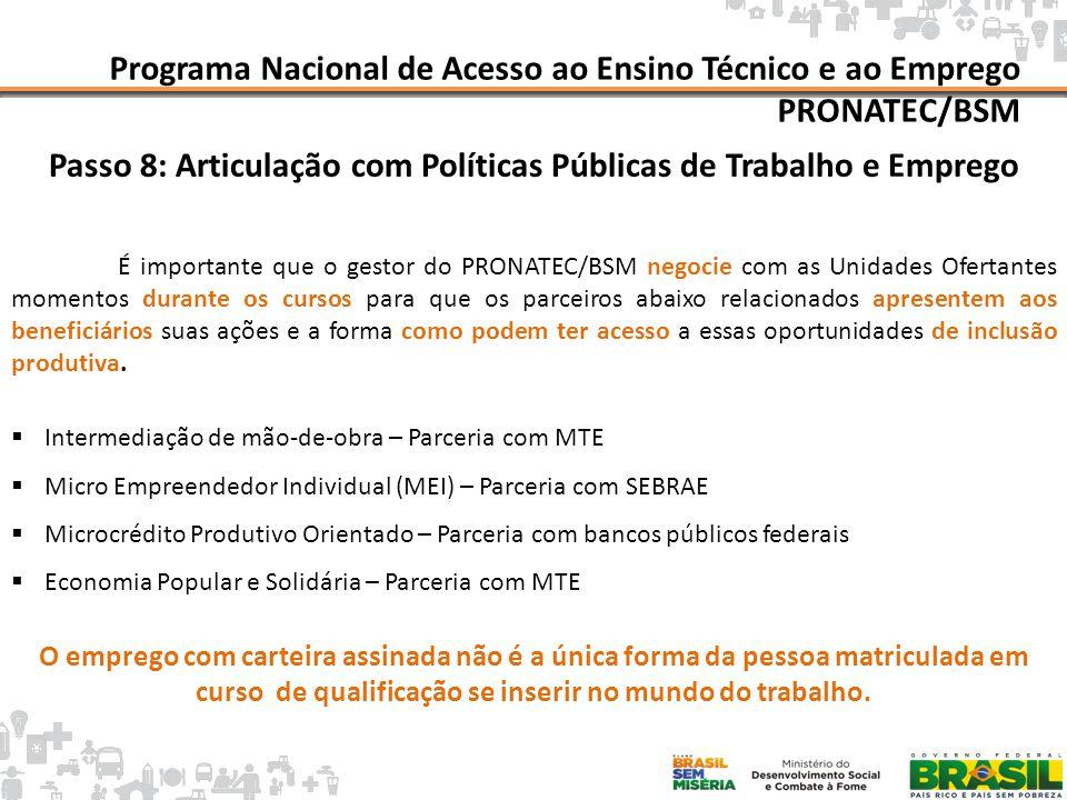 Mapa da Pobreza Programa Nacional de Acesso ao Ensino Técnico e ao Emprego PRONATEC/BSM Passo 8: Articulação com Políticas Públicas de Trabalho e Empr